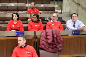 Boston Newspaper Guild members at city council meeting on March 6, 2019