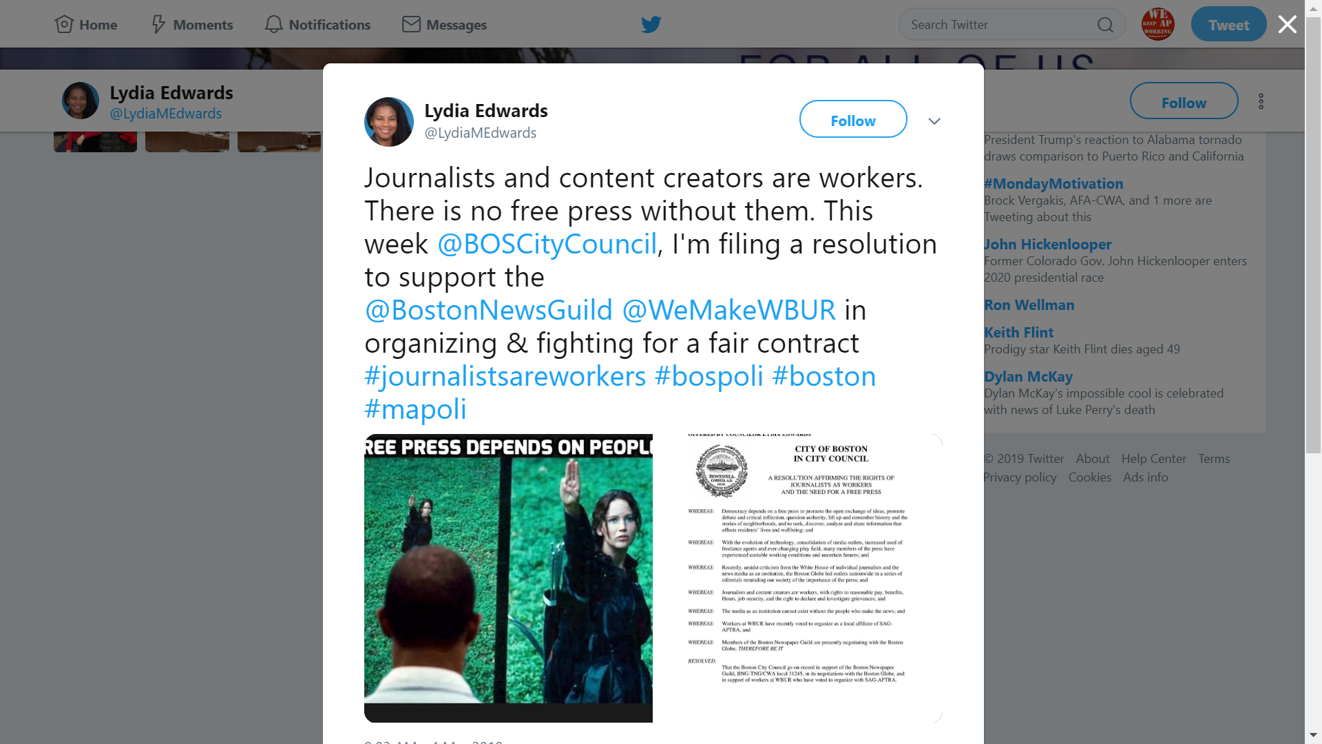 Boston City Council member tweets in support of Boston Newspaper Guild.
