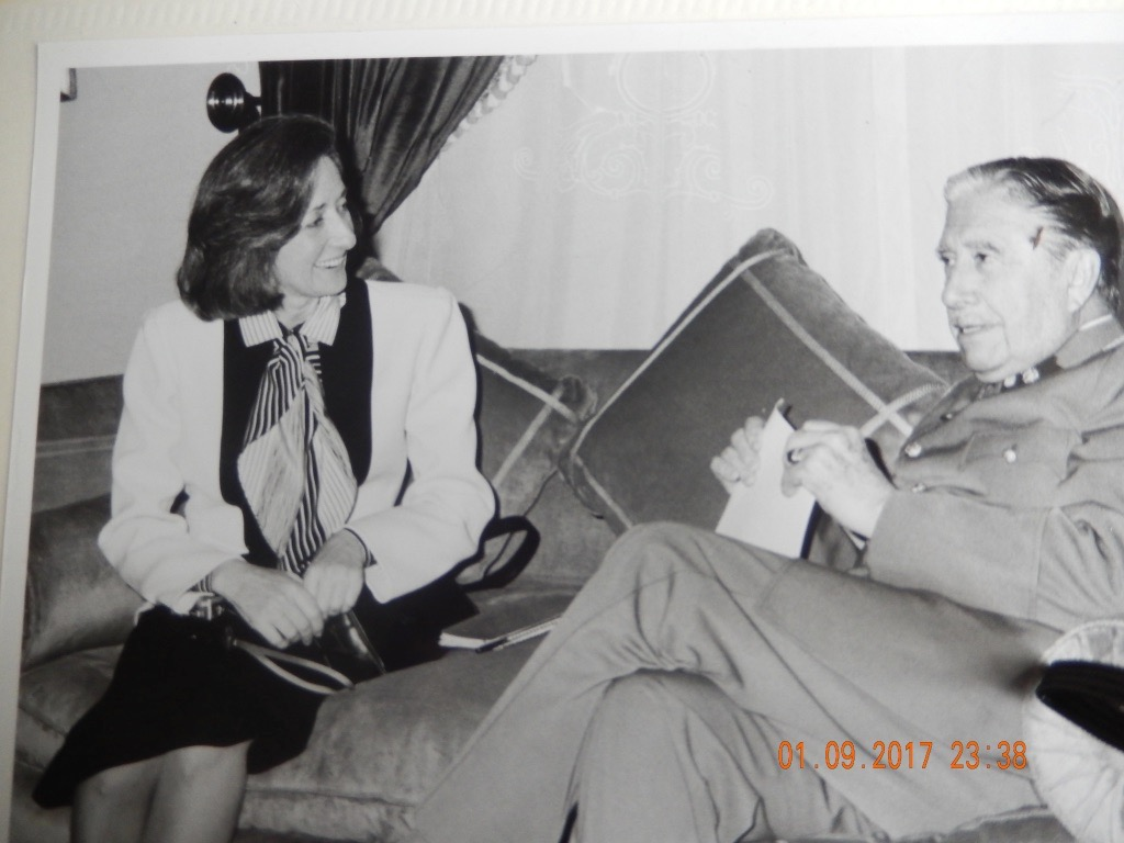Journalist Shirley Chrisholm with Gen. Augusto Pinochet