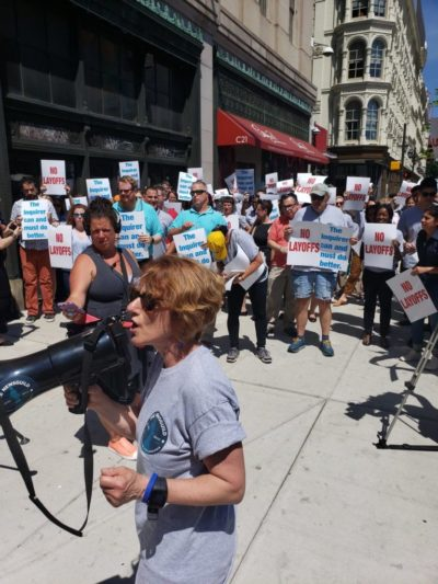 Philadelphia Protests Layoffs 2019 0626 Mastrull at Mic